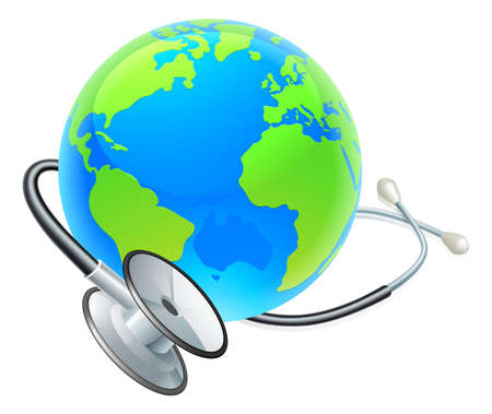 Conceptual illustration of a planet earth with a stethoscope wrapped around it.
