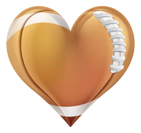 An American football ball in a heart shape. Concept for passion or love of sports. Stock Illustratie