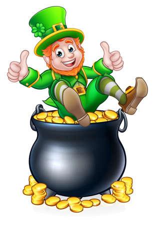Pot of Gold St Patricks Day Leprechaun Stock Photo