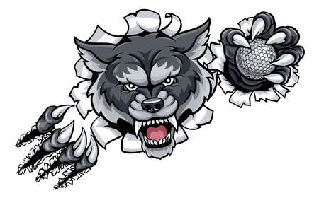 Wolf golf mascot breaking background.
