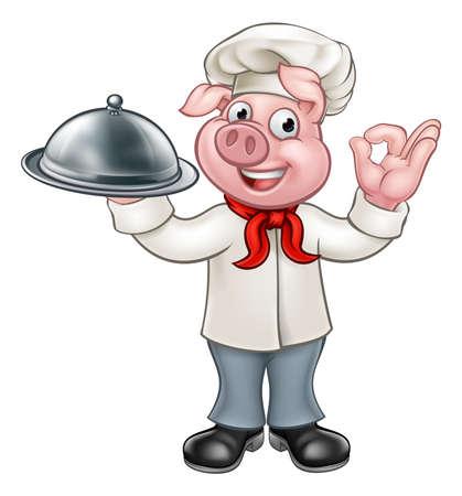 Pig chef cartoon character mascot. Illustration