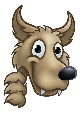 Wolf cartoon character mascot peeking around sign. Vectores