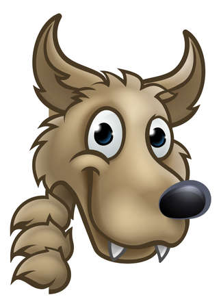 Wolf cartoon character mascot peeking around sign. Illustration
