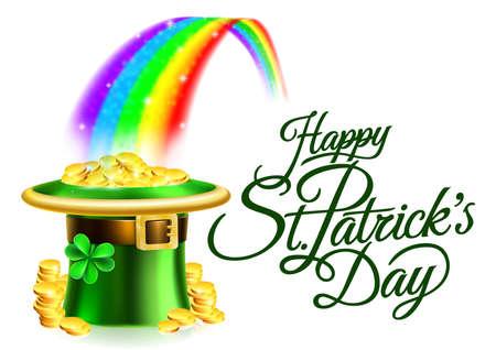 Kobold Hut Regenbogen Happy Patricks Patricks Day Zeichen Vektorgrafik