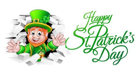 Happy St Patricks Day Cartoon Leprechaun