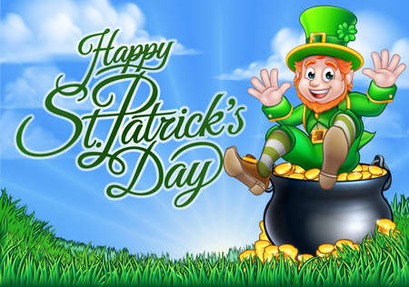 Leprechaun and Pot of Gold St Patricks Day Sign Illustration