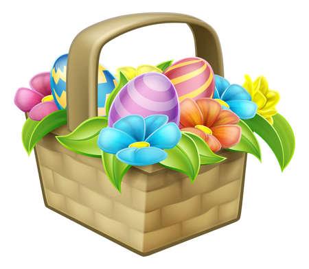 An illustration of an Easter egg hunt basket hamper with flowers