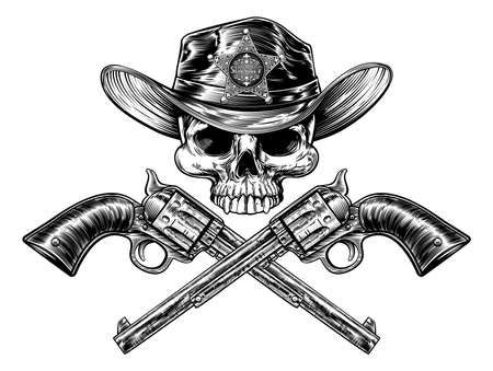 Cowboy grim reaper skull in western hat with star sheriff bagde drawing in a vintage retro woodcut etched or engraved style with crossed guns