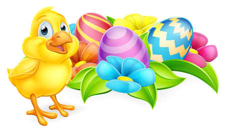 A baby chicken chick, Easter eggs and flowers cartoon