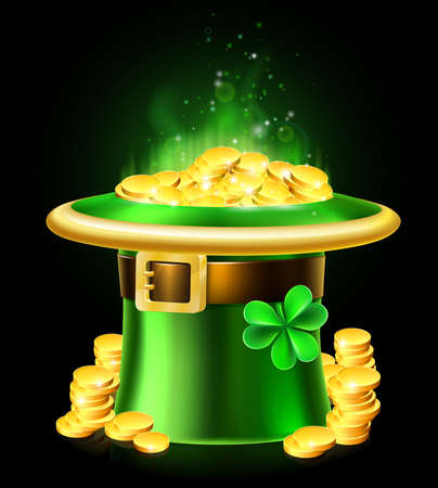 A St Patricks Day leprechaun green shamrock hat full of gold coins Vectores