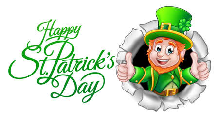 A cute Leprechaun cartoon character breaking through the background with Happy St Patricks Day message