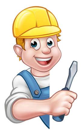 Cartoon Builder Electrician Character