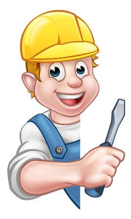 Cartoon Builder Electrician Character