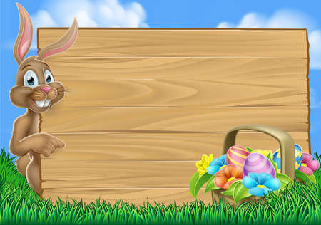 An Easter bunny rabbit with basket of Easter eggs pointing at a wooden sign with space for a message