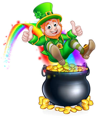 A cute St Patricks day leprechaun cartoon character sliding on rainbow into a pot of gold and giving a thumbs up