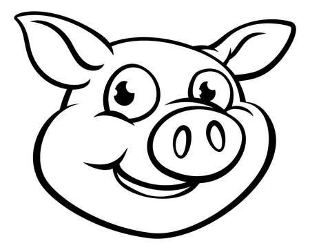An illustration of a cute cartoon pig character mascot