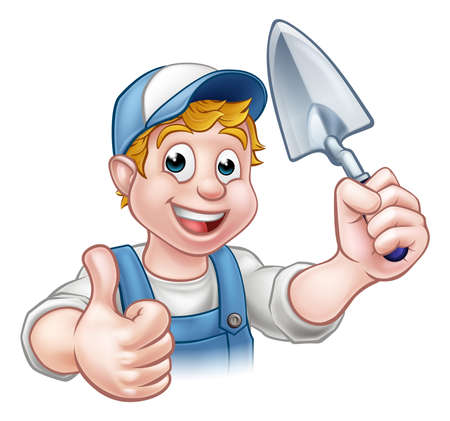 A cartoon builder or bricklayer construction worker holding a masons brick laying trowel hand tool and giving a thumbs up  イラスト・ベクター素材