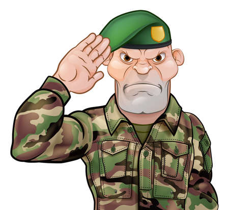 Saluting soldier cartoon character on white background. Vectores