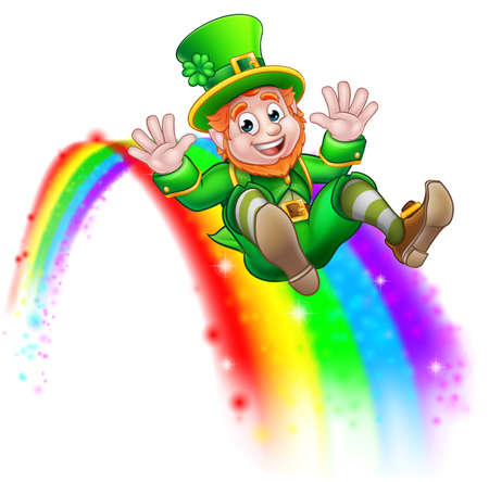 St. Patrick's Day with leprechaun slide in rainbow illustration.