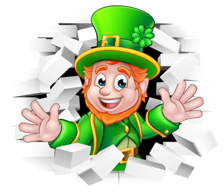 St. Patricks Day with leprechaun breaking wall illustration. Çizim