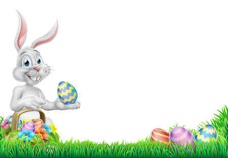 An Easter bunny rabbit with basket of Easter eggs on an egg hunt pointing with space for a message design Illustration