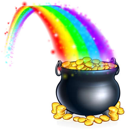An illustration of a pot of gold coins at the end of a rainbow