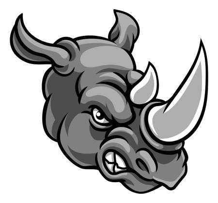 A rhino or rhinoceros mean angry animal sports mascot cartoon head