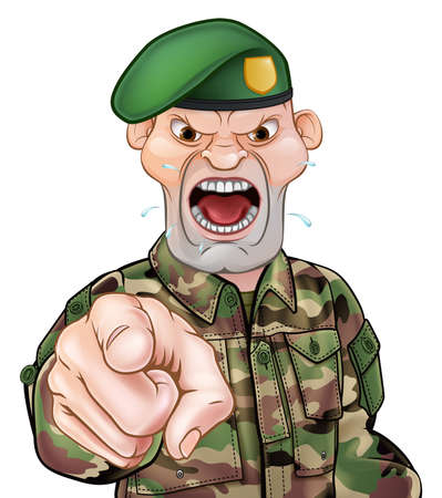 A tough looking pointing soldier cartoon character wearing a green beret