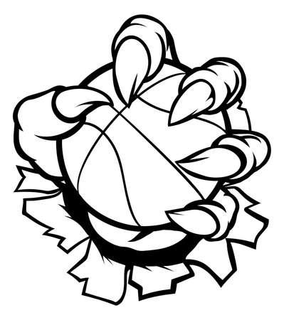 Monster or animal claw holding Basketball Ball