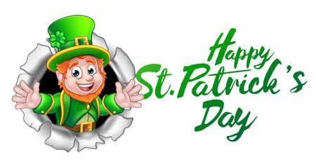 Happy St Patricks Day Leprechaun Cartoon