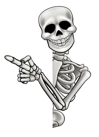 Pointing Cartoon Skeleton isolated on white background.