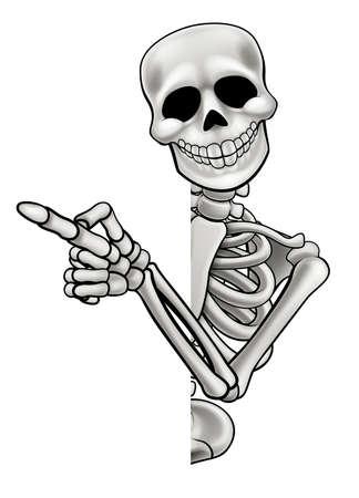 Pointing Cartoon Skeleton isolated on white background.