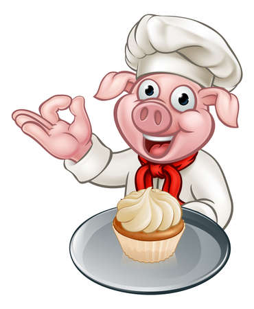 Cartoon Baker Chef Pig Character Illustration