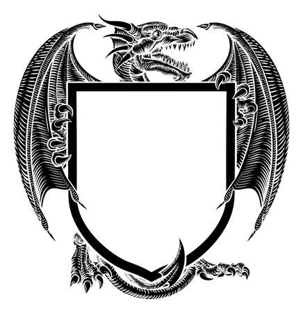 Dragon Crest Coat of Arms Heraldic Emblem Shield Illustration