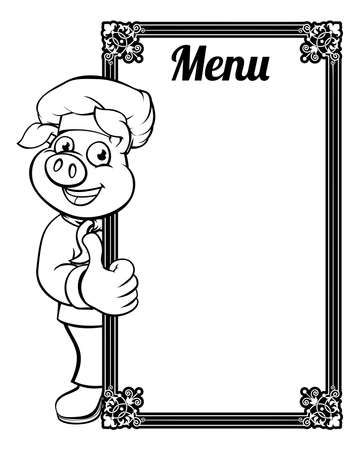 Chef Pig Cartoon Character Menu Foto de archivo - 95982658