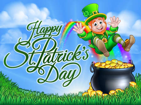 St Patricks Day Leprechaun Pot of Gold End Rainbow 免版税图像 - 95983419