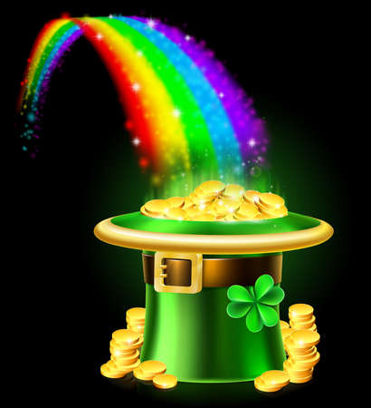 St Patricks Day Leprechaun Rainbow Hat of Gold 版權商用圖片 - 95983417