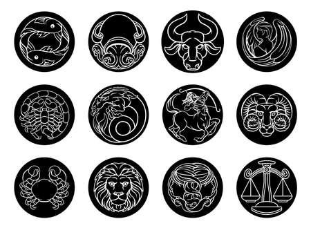 Conjunto de iconos de signos del zodiaco horóscopo astrología