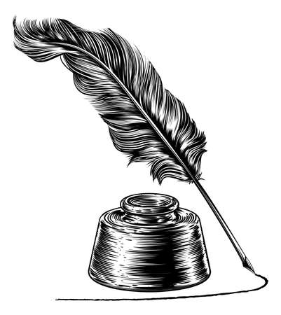 Writing Quill Feather Pen and Ink Well Vector illustration. Çizim