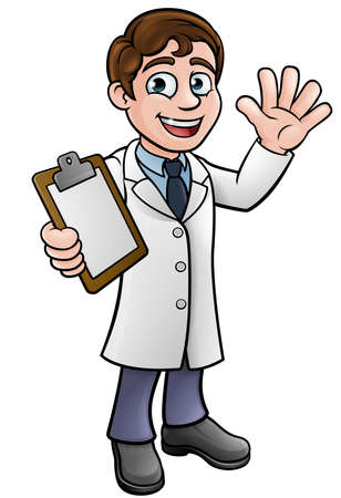 Scientist or Lab Technician Cartoon Character Vector illustration. Stock Illustratie
