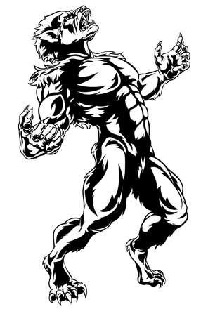 Werewolf Horror Monster Vector illustration.