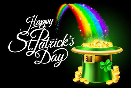Happy St. Patrick's Day Leprechaun Hat Rainbow Sign Vector illustration.