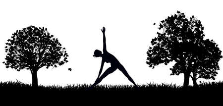 Yoga or Pilates in the Park Silhouette Illustration