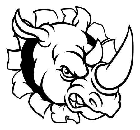 A rhino or rhinoceros mean angry animal sports mascot cartoon head smashing through the background.