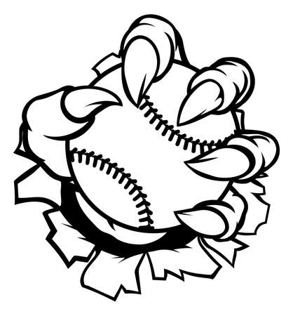 A monster or animal claw holding a baseball ball and breaking through the background.