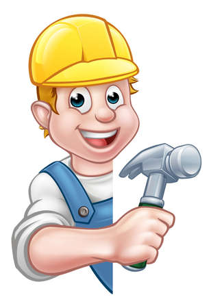 A builder or carpenter contractor cartoon character holding a hammer hand tool and peeking around from behind a sign.