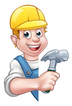 Postać z kreskówki budowniczego lub wykonawcy stolarza trzymającego młotek i zaglądającego zza znaku. Ilustracje wektorowe