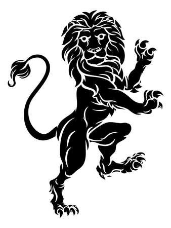 A rampant lion standing on hind legs from a coat of arms or heraldic crest.