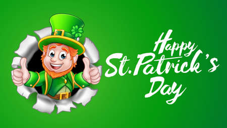 Happy St Patricks day leprechaun thumbs up.  イラスト・ベクター素材