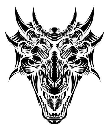 Dragon head front woodcut illustration. Иллюстрация
